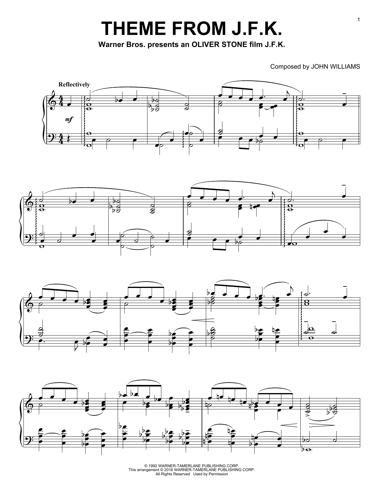 Theme From J.F.K. (Piano Solo)