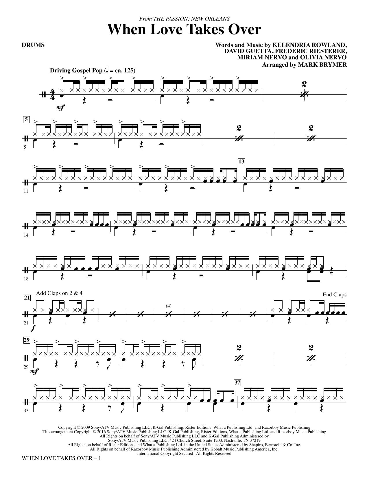 When Love Takes Over (from The Passion: New Orleans) - Drums Sheet Music