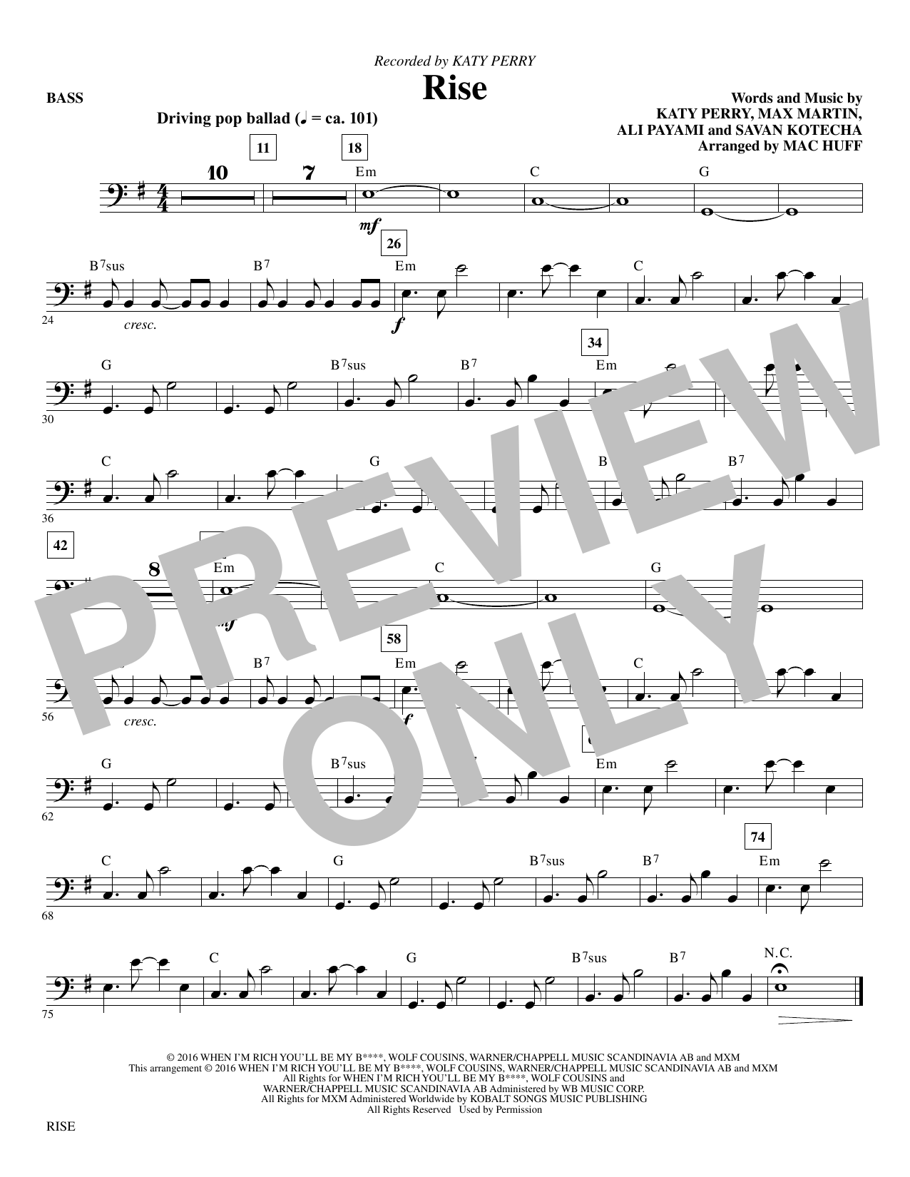 Rise (arr. Mac Huff) - Bass Sheet Music