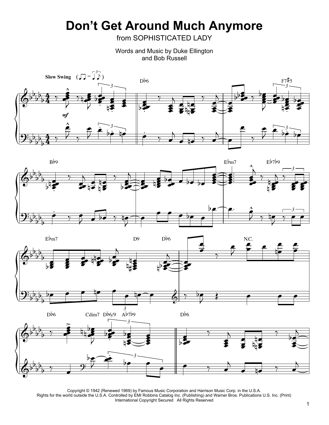 Don't Get Around Much Anymore (Piano Transcription)