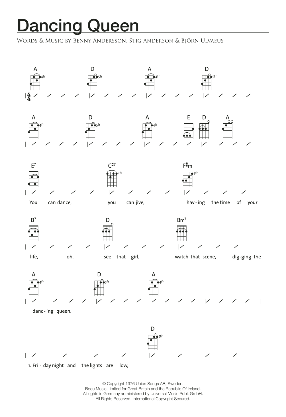 Dancing Queen by ABBA Ukulele with Strumming Patterns Digital Sheet Music