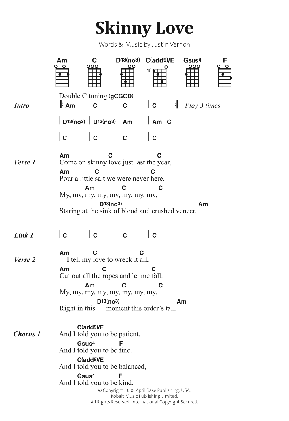 Skinny Love by Bon Iver Piano, Vocal & Guitar Digital Sheet Music
