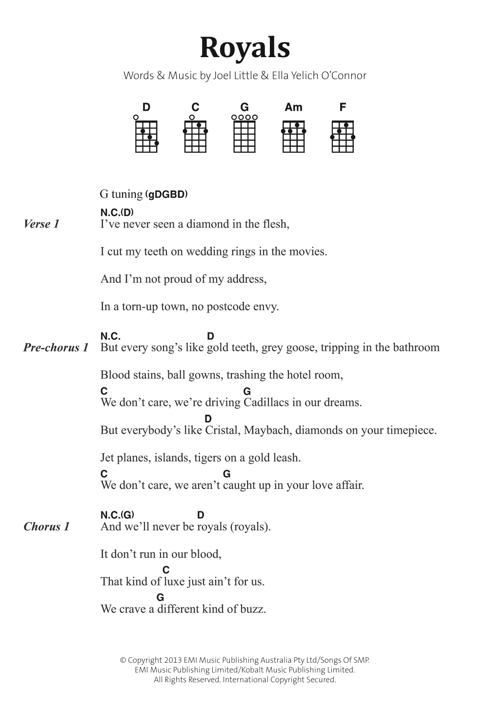 Royals Lorde Banjo Lyrics Chords