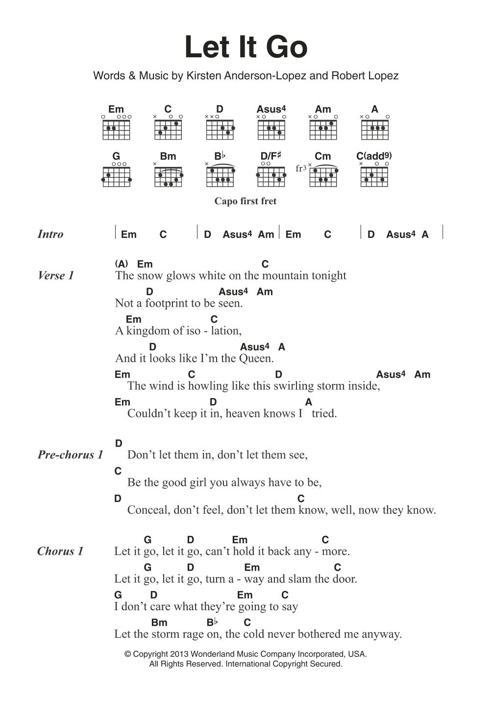Let It Go (from Frozen) Sheet Music | Idina Menzel | Guitar