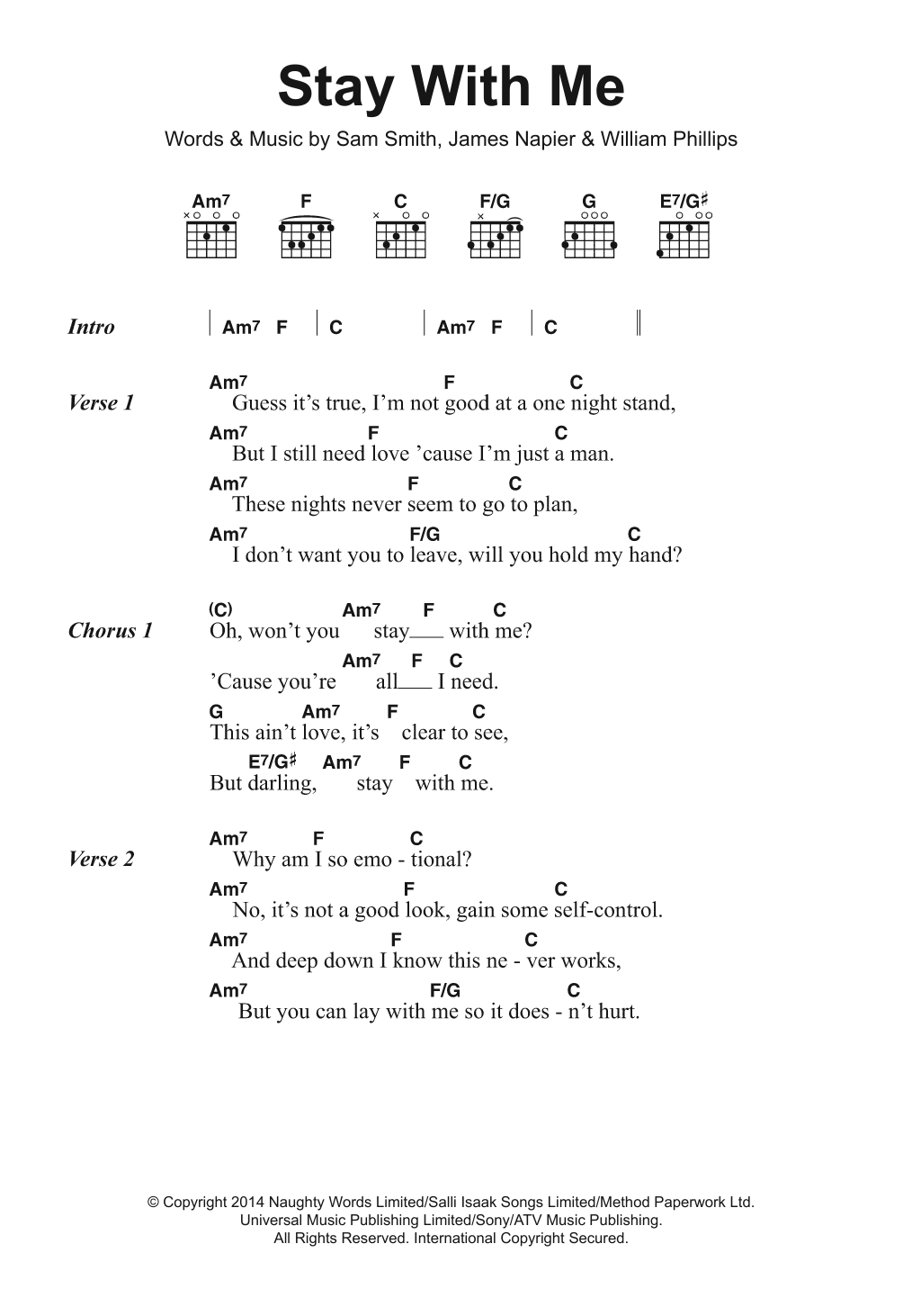 Stay With Me Sheet Music Sam Smith Lyrics Chords