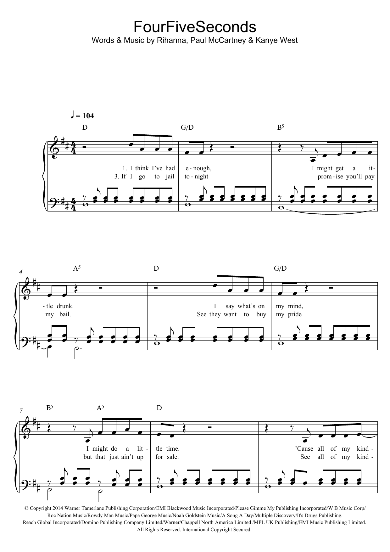 FourFiveSeconds (featuring Kanye West and Paul McCartney) Sheet Music
