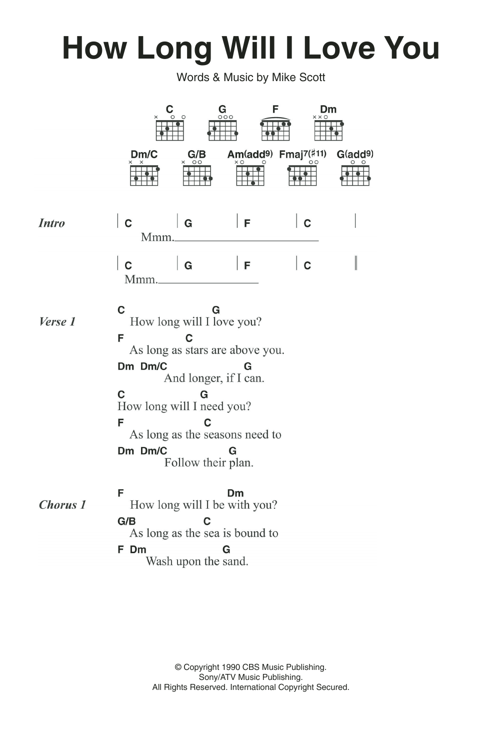 How Long Will I Love You Sheet Music Ellie Goulding Lyrics Chords
