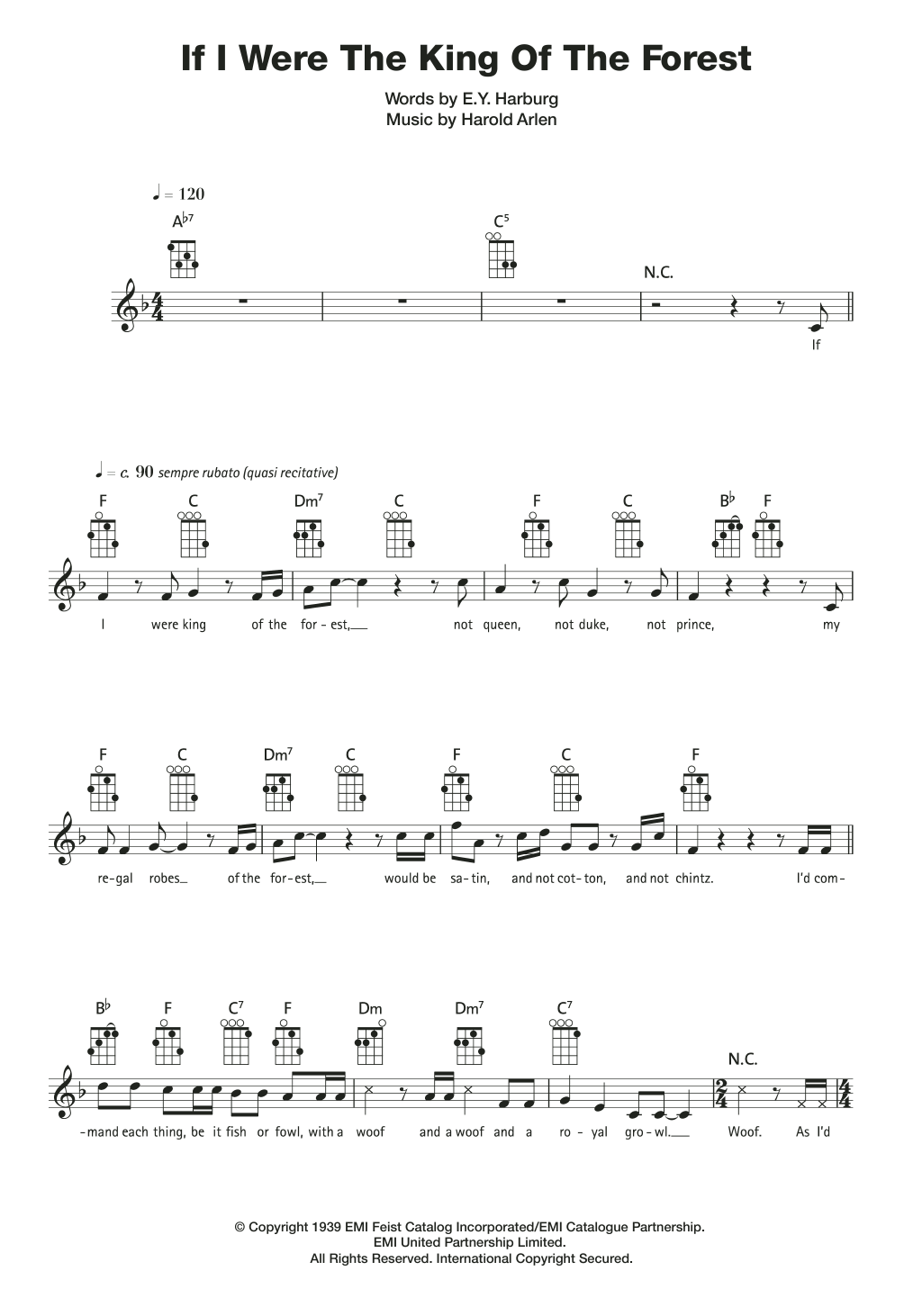If I Were The King Of The Forest Sheet Music