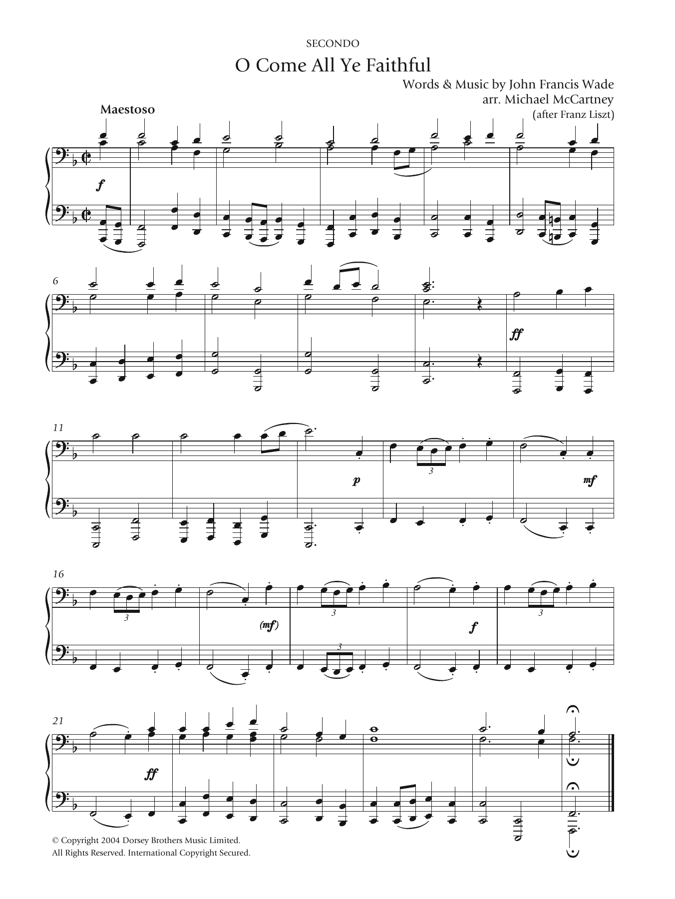 O Come All Ye Faithful Sheet Music Christmas Carol Piano Duet