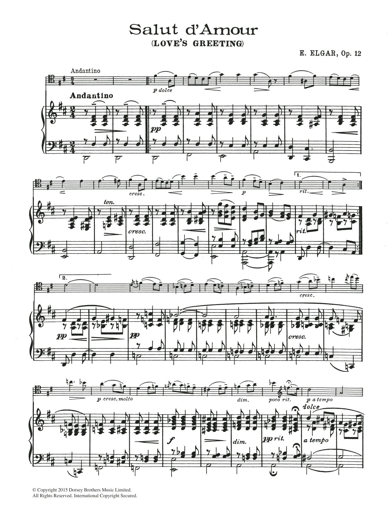 Salut D'Amour Sheet Music