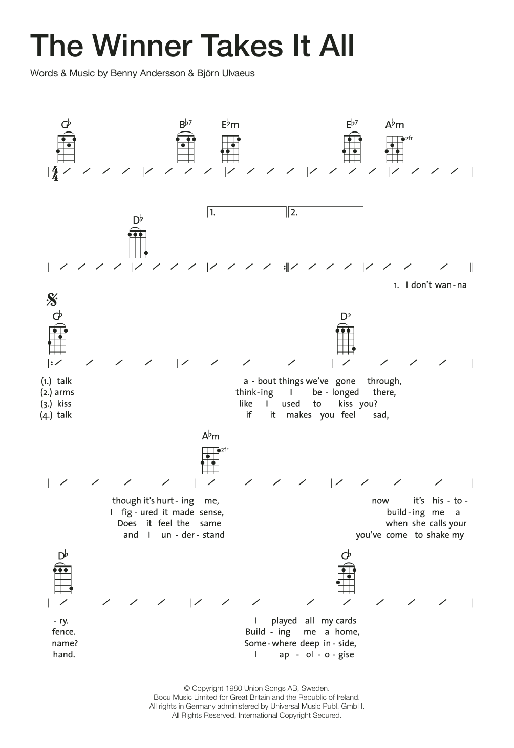 The Winner Takes It All Sheet Music