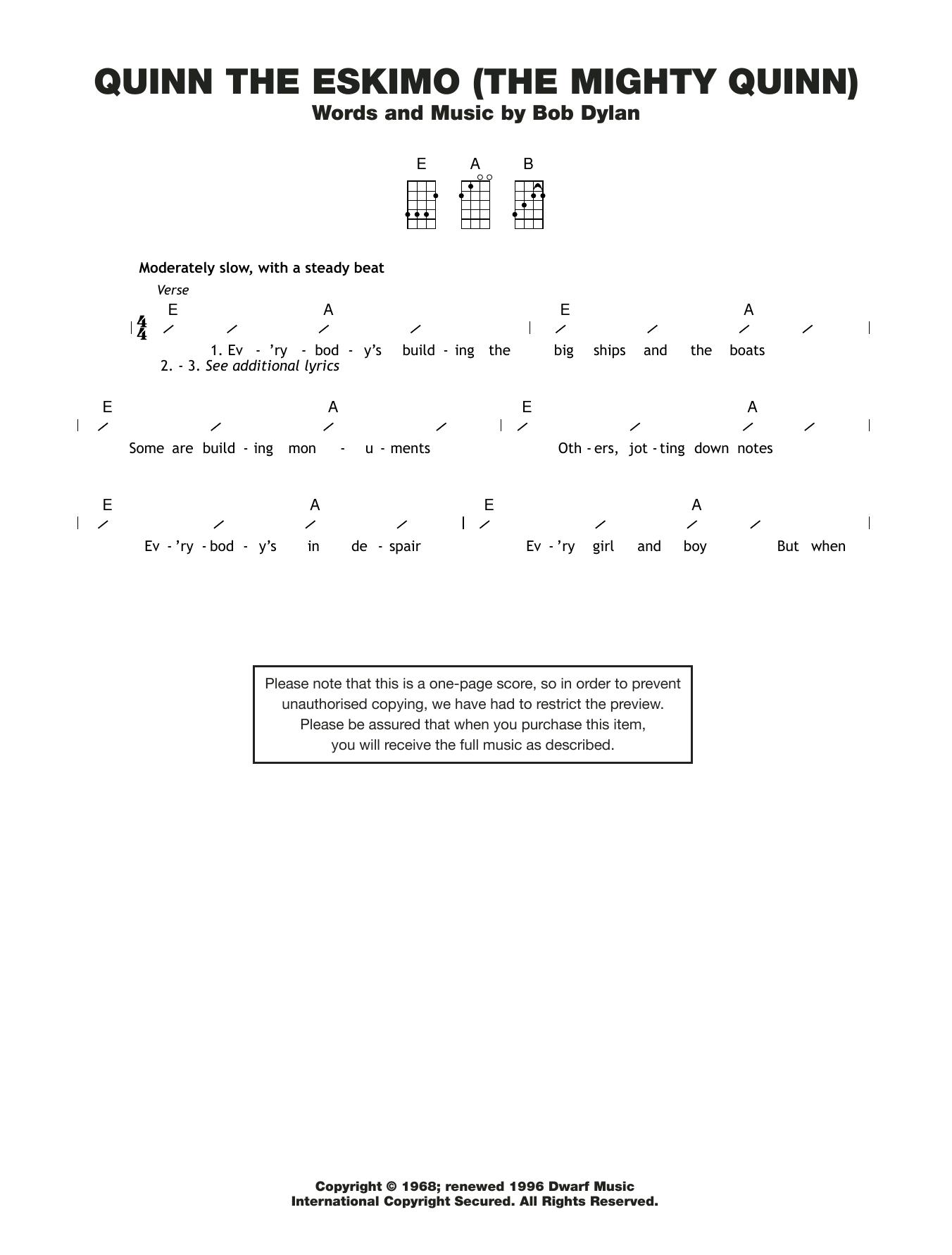 Quinn The Eskimo (The Mighty Quinn) Sheet Music