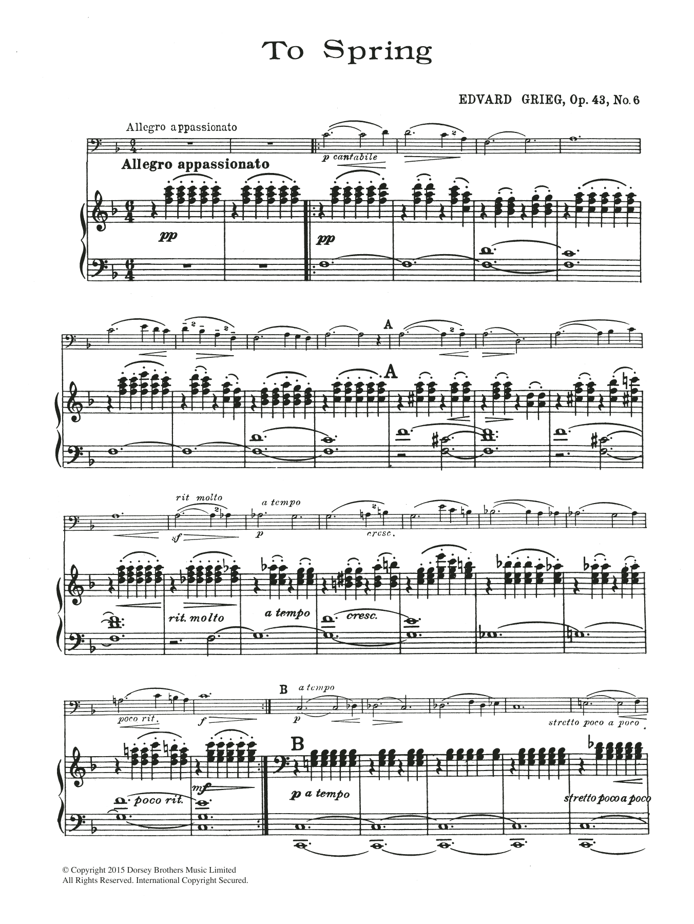 To Spring, Op.43 No.5 Sheet Music