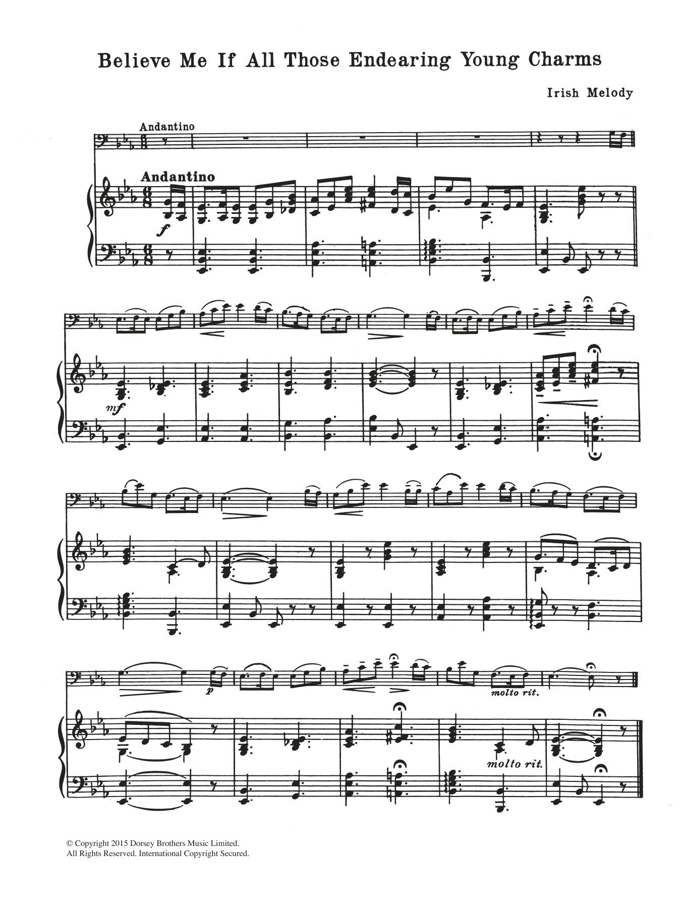 Believe Me If All Those Endearing Young Charms Sheet Music