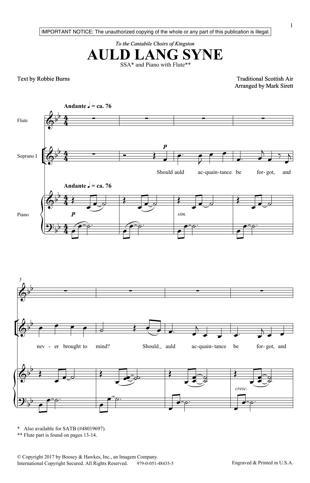 Auld Lang Syne (SSA Choir)