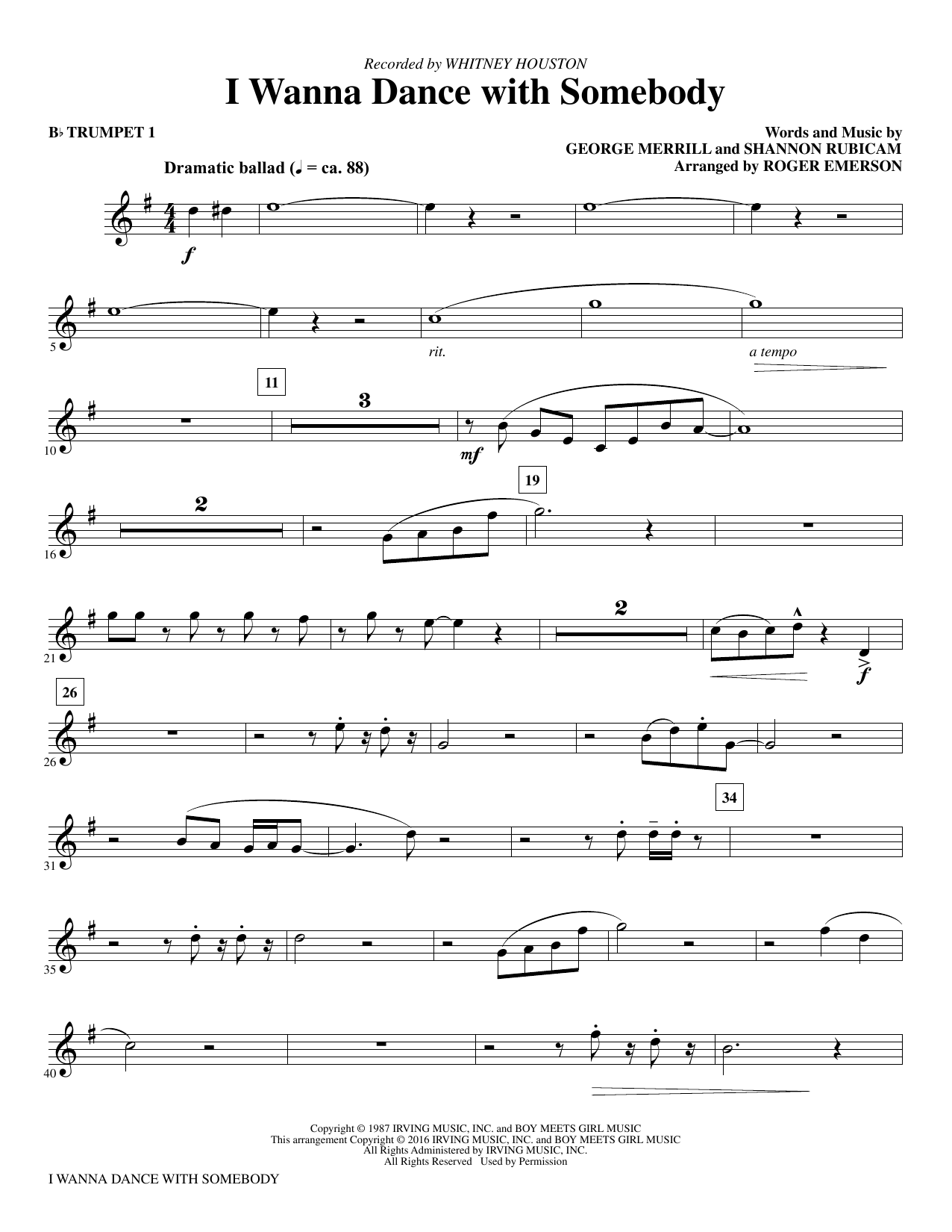 I Wanna Dance With Somebody (complete set of parts) sheet music for orchestra/band by Whitney Houston, George Merrill, Roger Emerson and Shannon Rubicam. Score Image Preview.