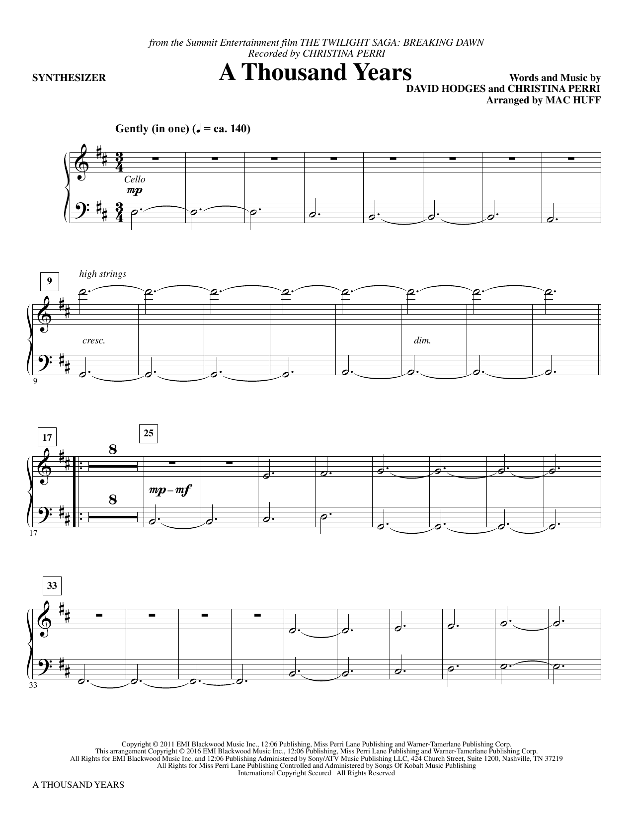 A Thousand Years (complete set of parts) sheet music for orchestra/band by Mac Huff, Christina Perri and David Hodges. Score Image Preview.