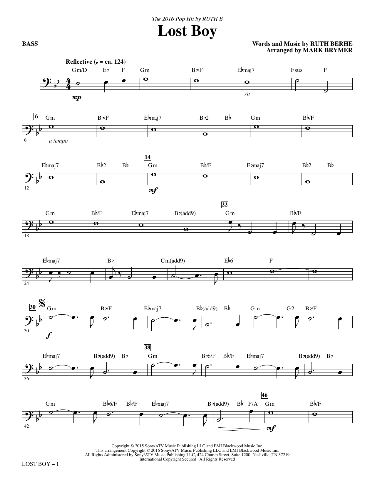 Lost Boy - Bass Sheet Music