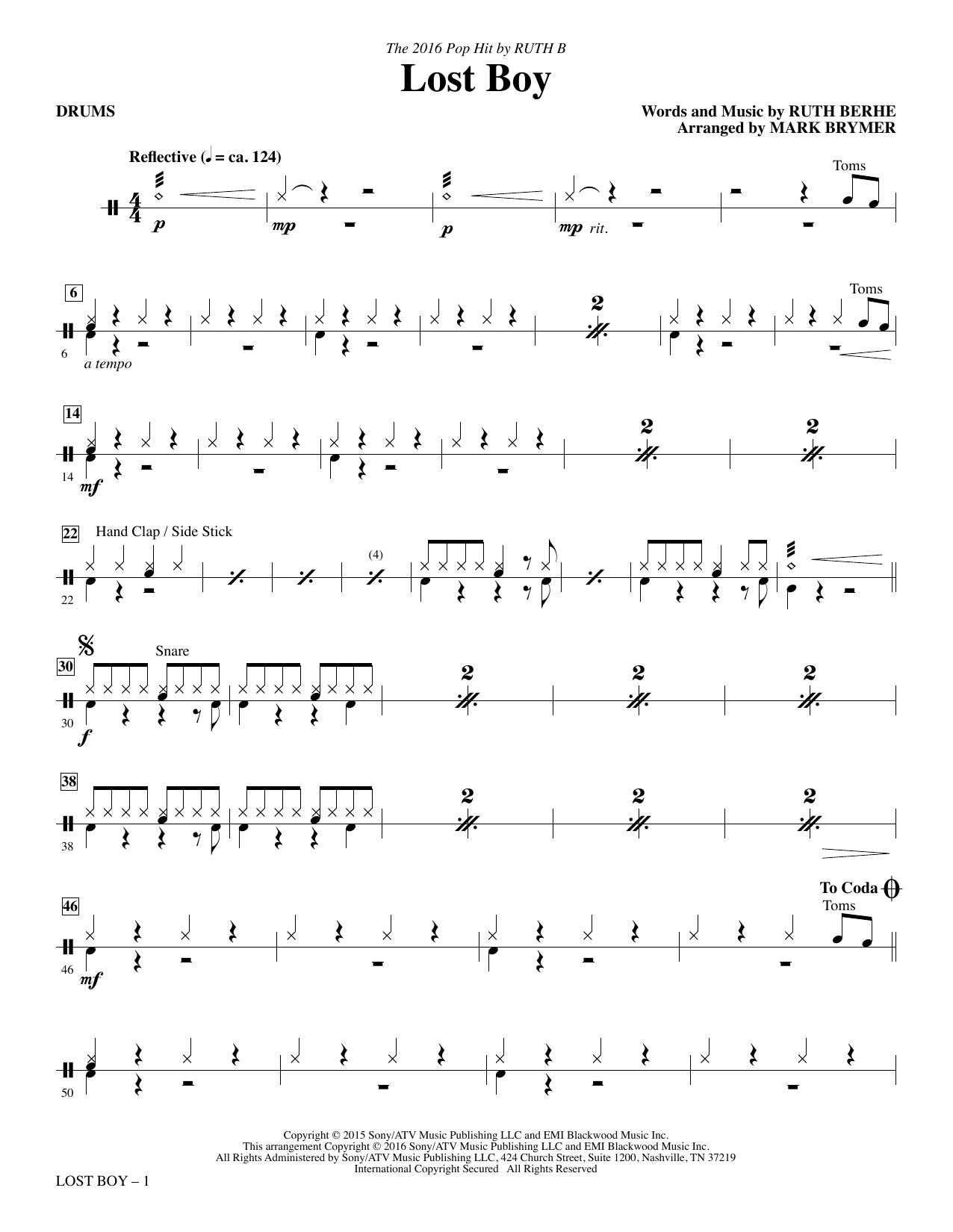 Lost Boy - Drums Sheet Music