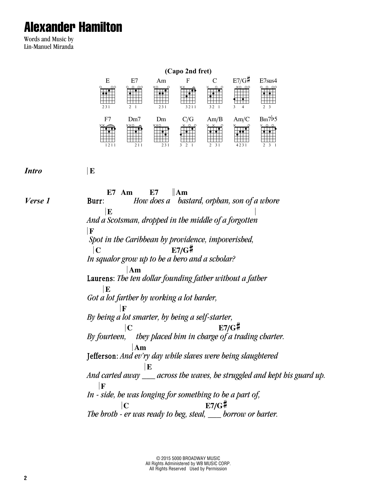 Alexander Hamilton (from Hamilton) (Guitar Chords/Lyrics)
