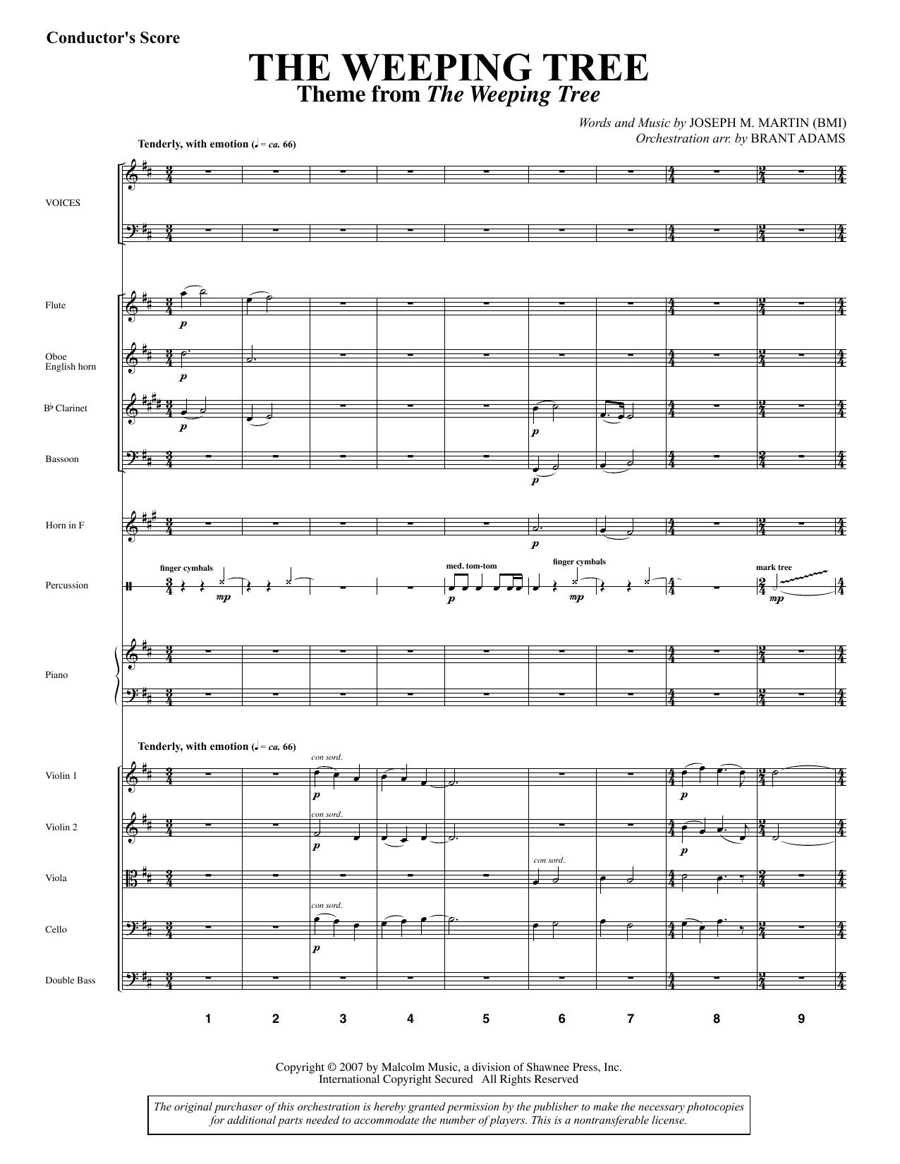 The Weeping Tree - Score Sheet Music