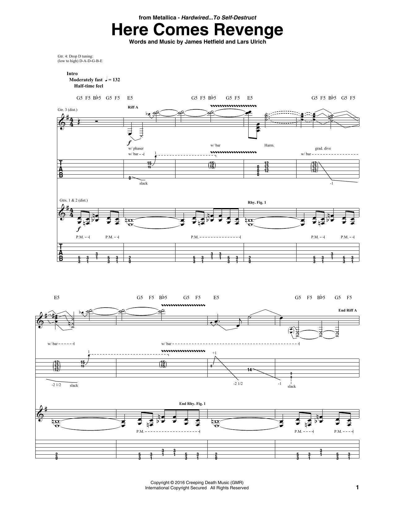 Here Comes Revenge By Metallica Guitar Tab Guitar Instructor
