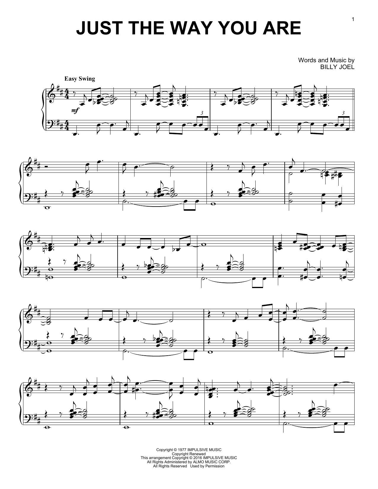Partition piano Just The Way You Are de Billy Joel - Piano Solo