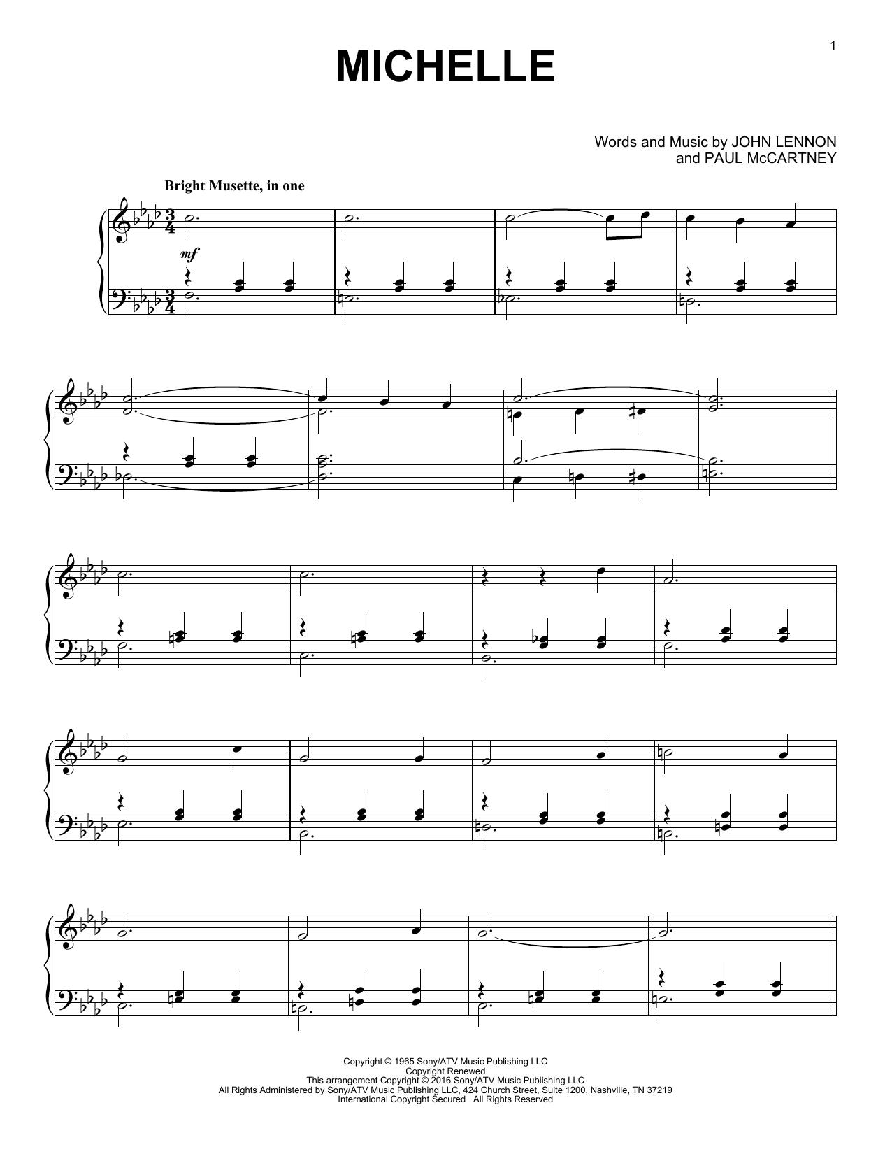 Partition piano Michelle de The Beatles - Piano Solo