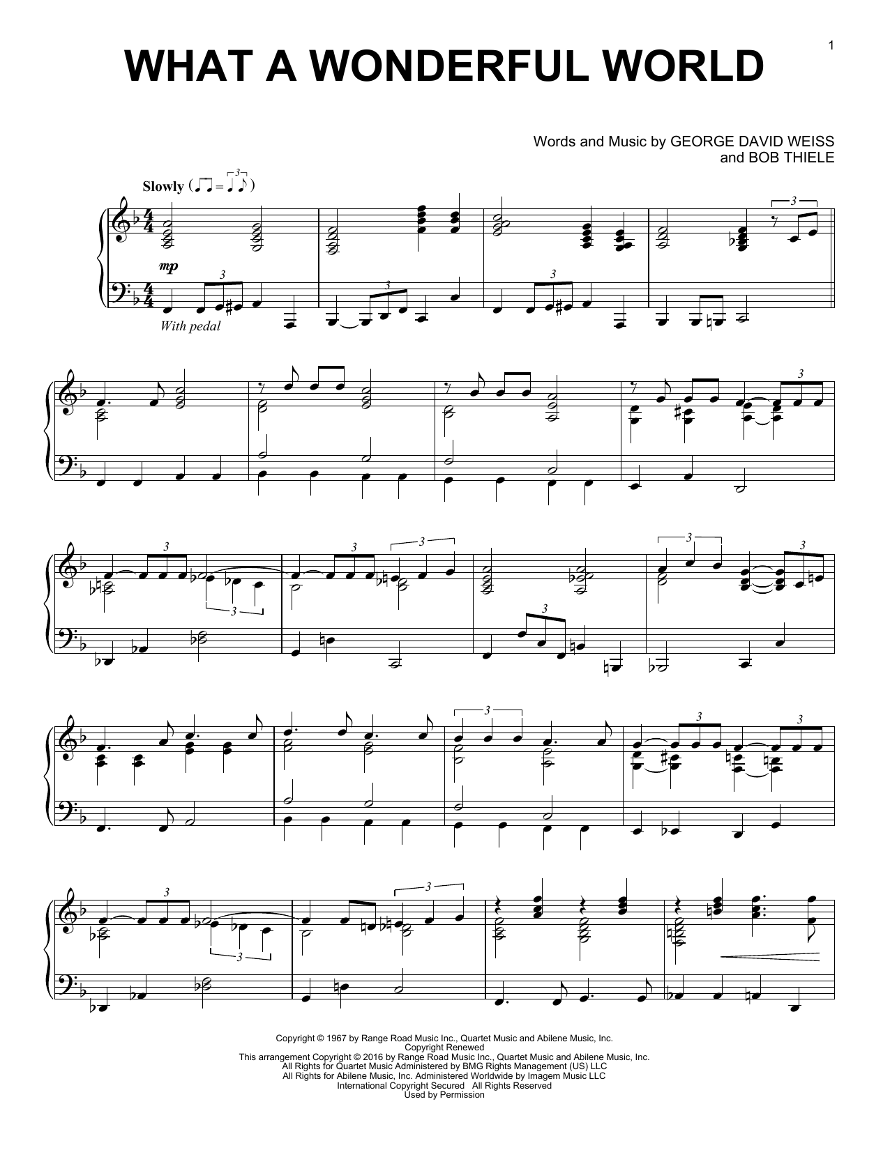 Partition piano What A Wonderful World de Louis Armstrong - Piano Solo