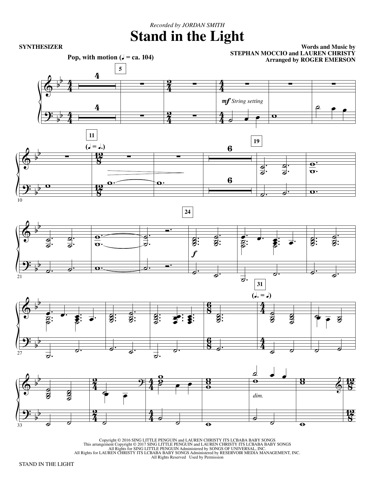 Stand In The Light (complete set of parts) sheet music for orchestra/band by Roger Emerson and Stephan Moccio. Score Image Preview.