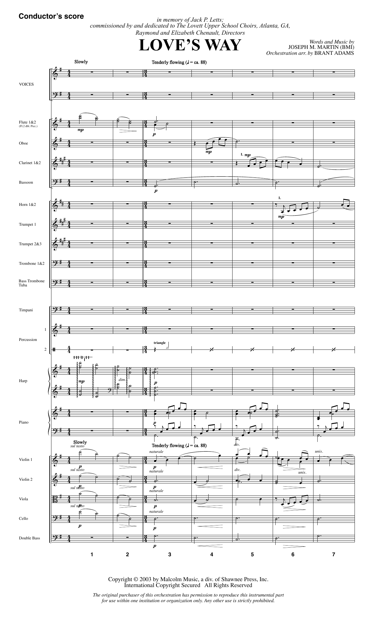 Love's Way (COMPLETE) sheet music for orchestra/band by Joseph M. Martin. Score Image Preview.