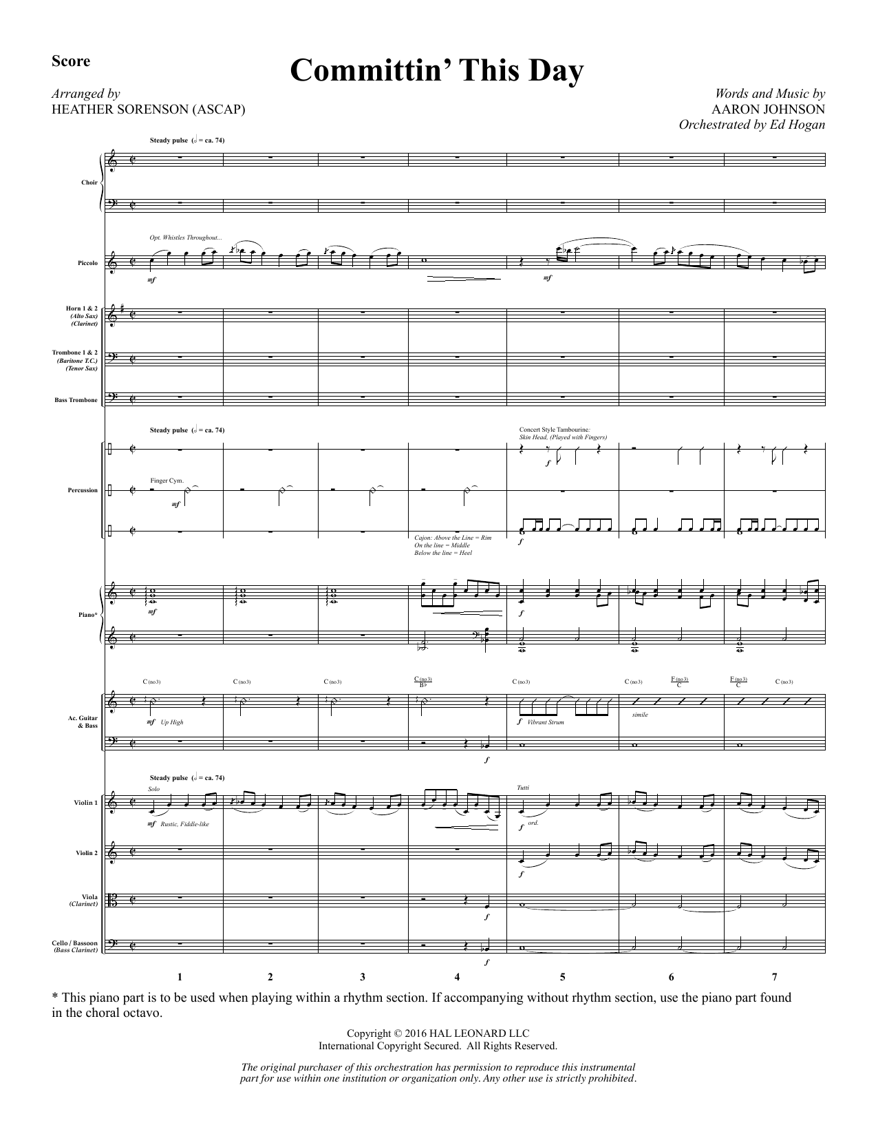 Committin' This Day (COMPLETE) sheet music for orchestra/band by Heather Sorenson. Score Image Preview.