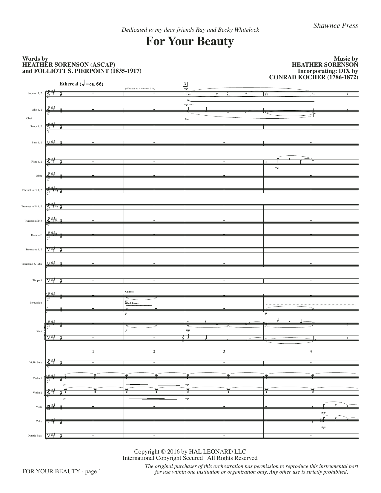 For Your Beauty (COMPLETE) sheet music for orchestra/band by Heather Sorenson, Conrad Kocher and Folliott S. Pierpoint. Score Image Preview.