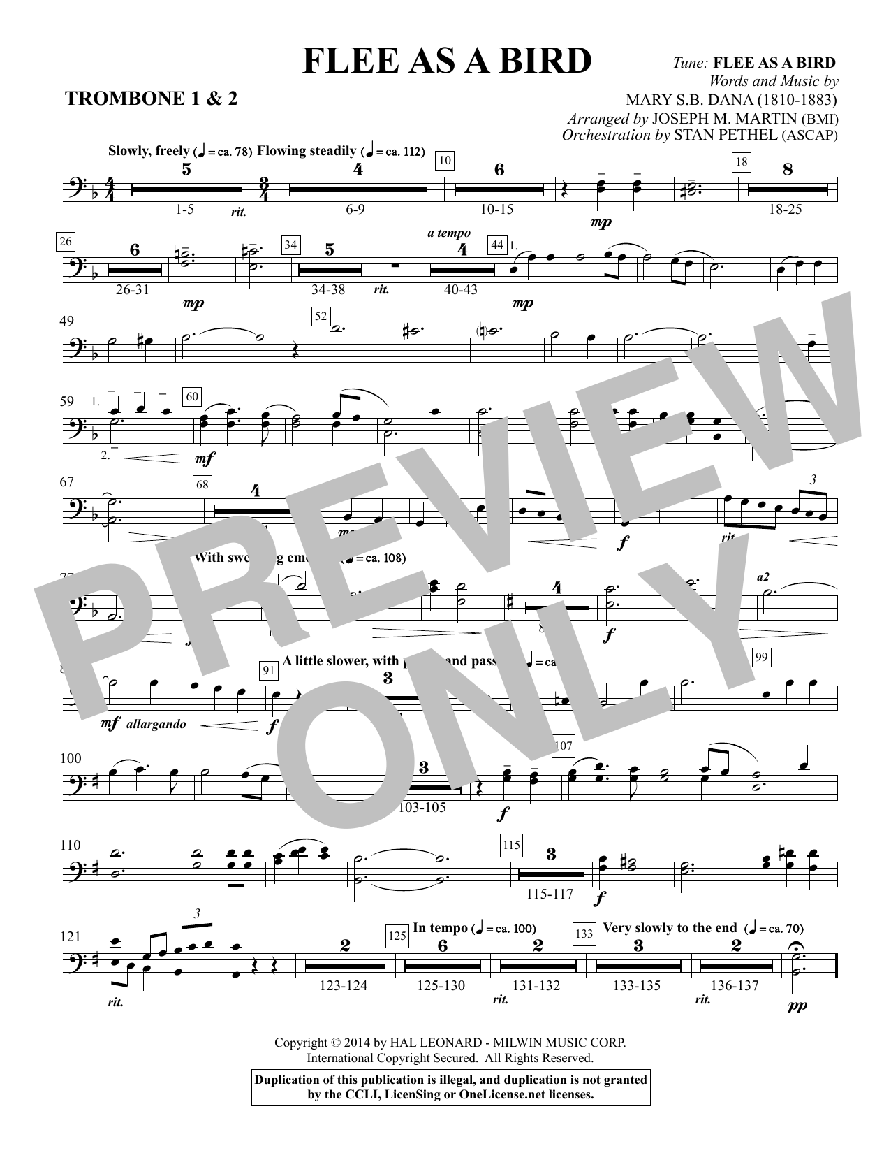 Flee As a Bird - Trombone 1 & 2 Sheet Music