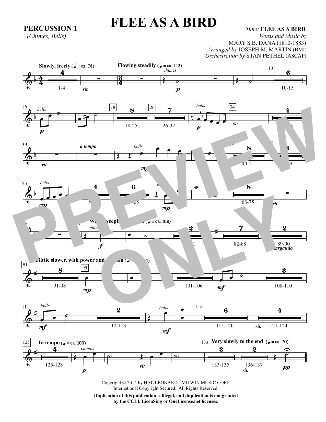 Flee As a Bird - Percussion 1 Sheet Music