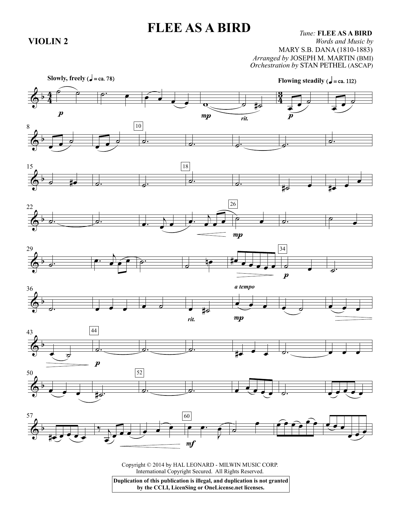 Flee As a Bird - Violin 2 Sheet Music