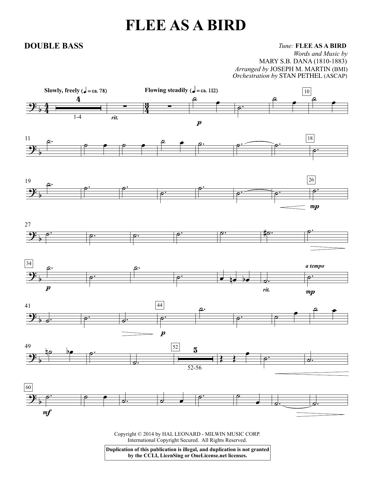 Flee As a Bird - Double Bass Sheet Music