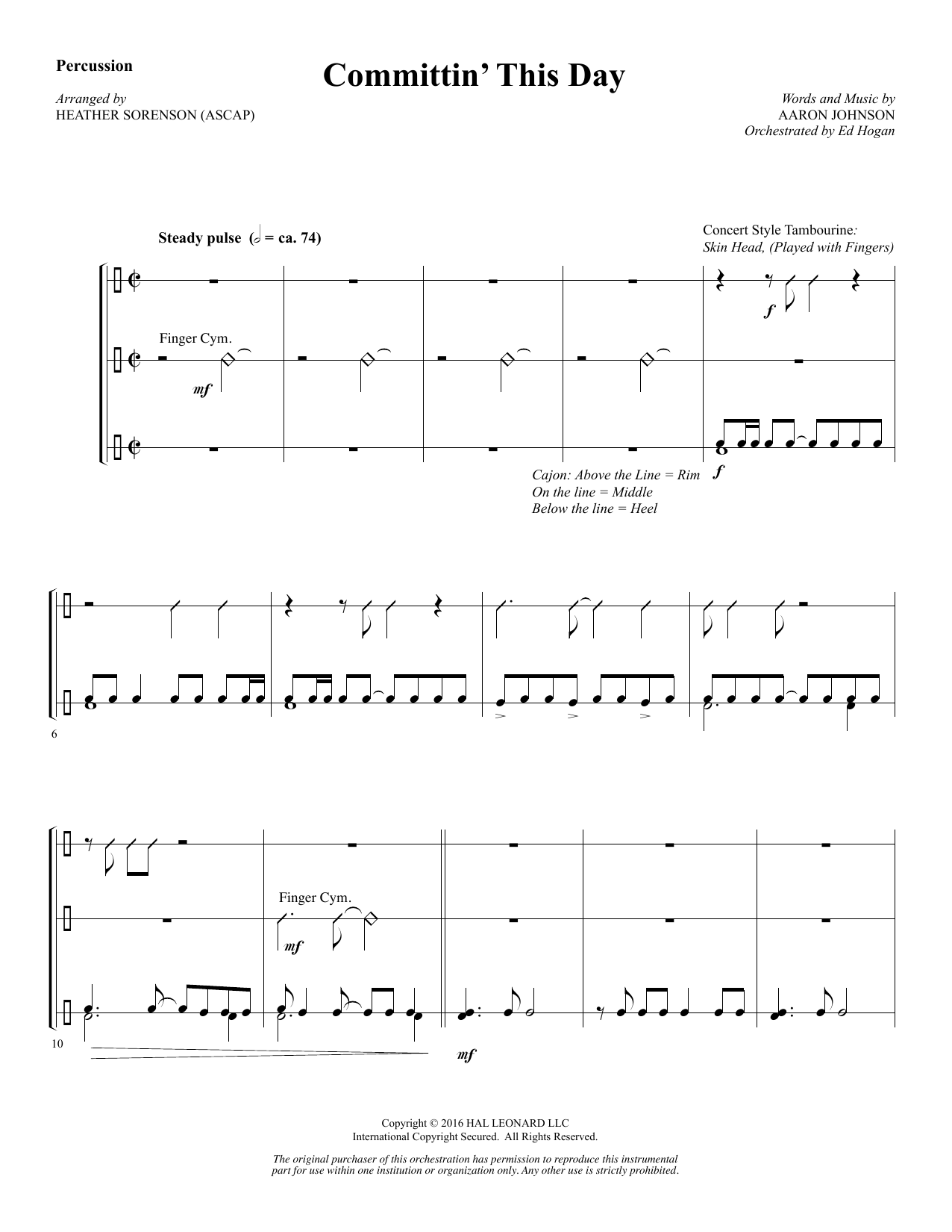 Committin' This Day - Percussion Sheet Music