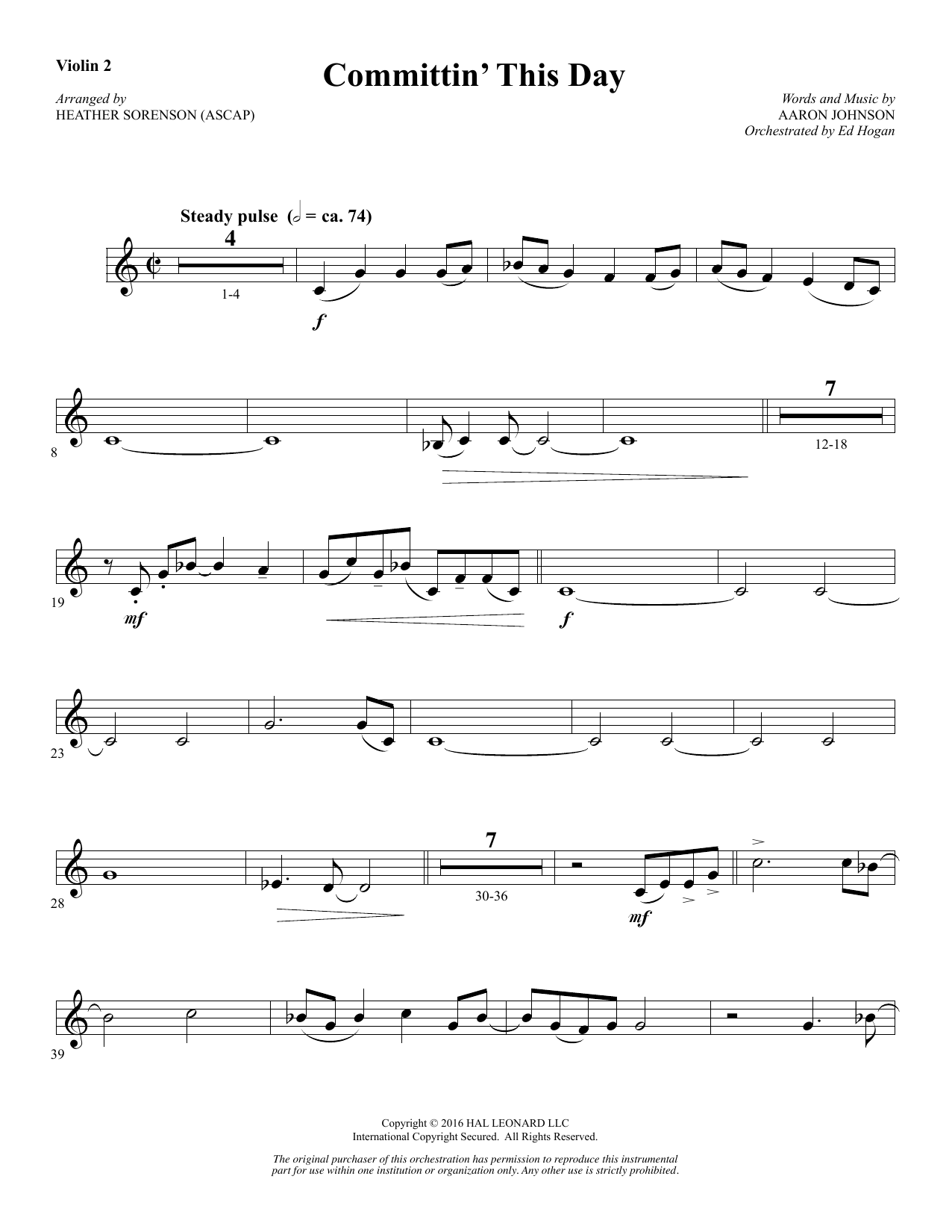 Committin' This Day - Violin 2 Sheet Music