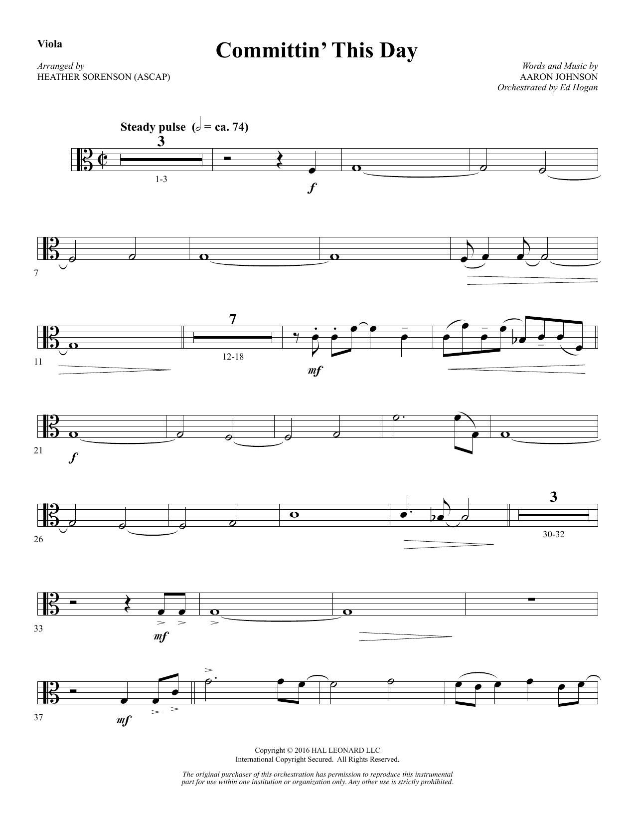 Committin' This Day - Viola Sheet Music