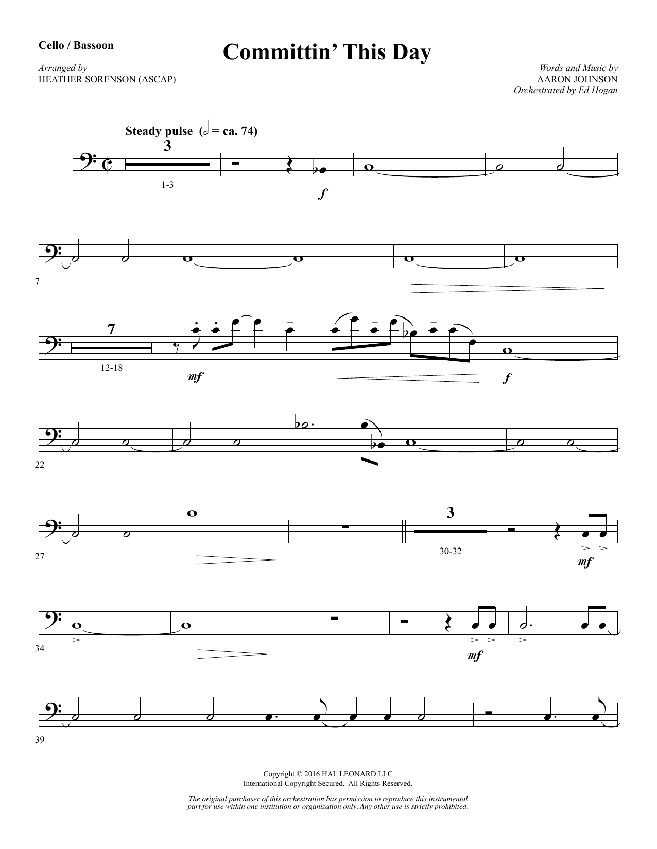 Committin' This Day - Cello (Opt. Bassoon) Sheet Music