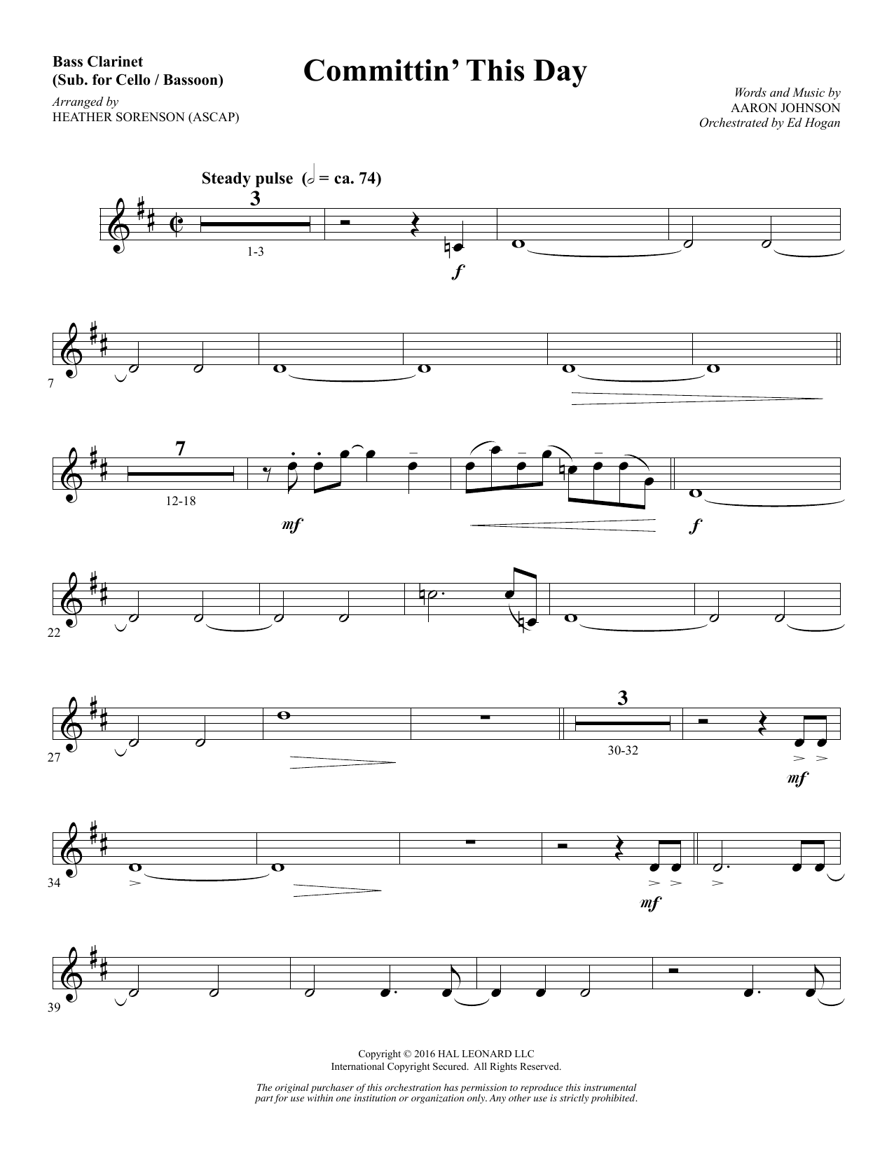 Committin' This Day - Bass Clarinet (sub. Cello/Bsn) Sheet Music