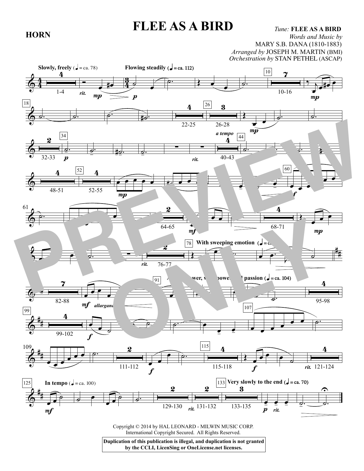 Flee As a Bird - F Horn Sheet Music