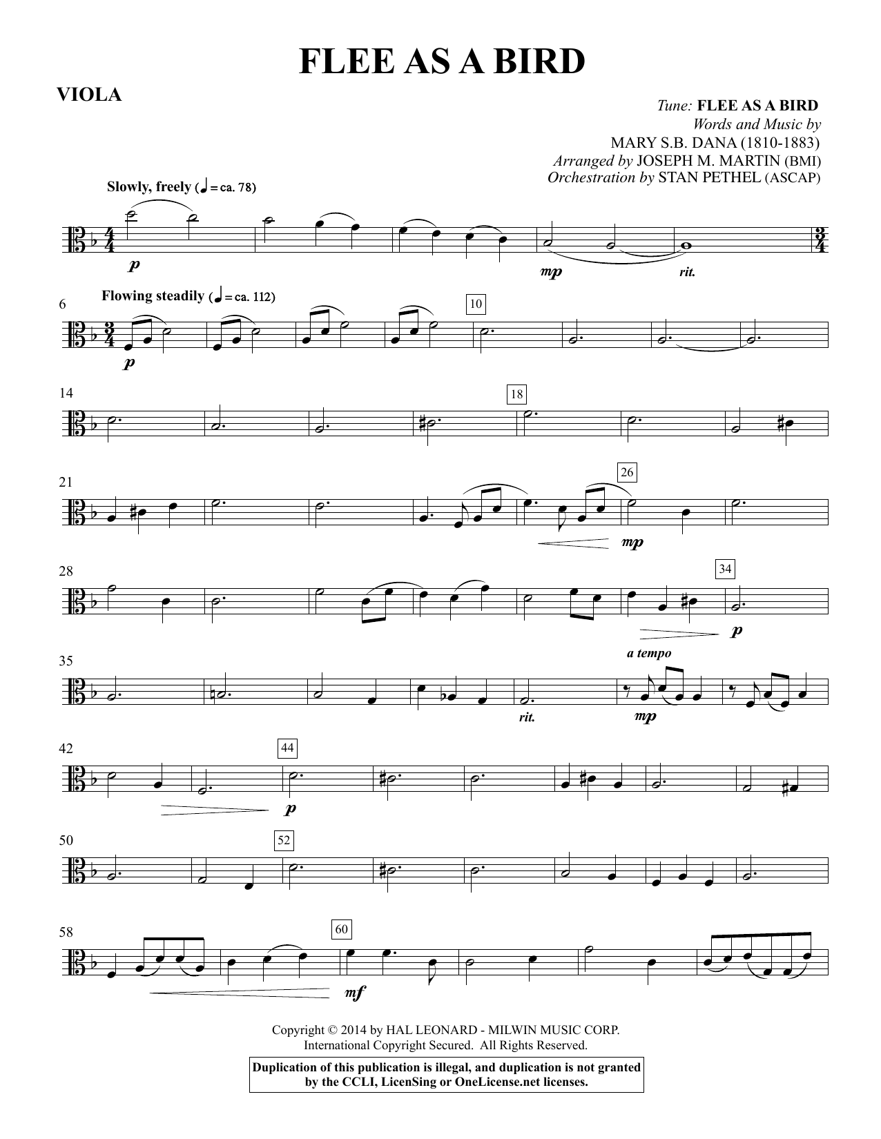 Flee As a Bird - Viola Sheet Music
