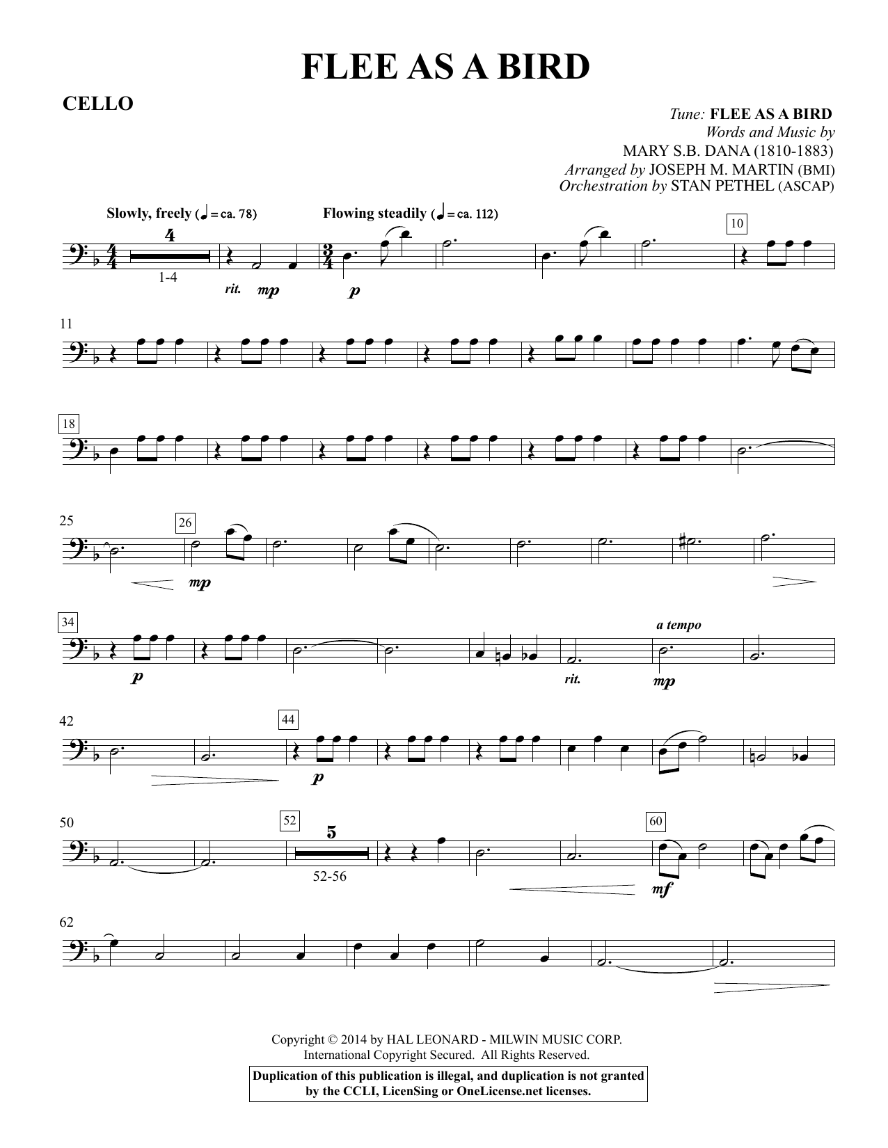 Flee As a Bird - Cello Sheet Music