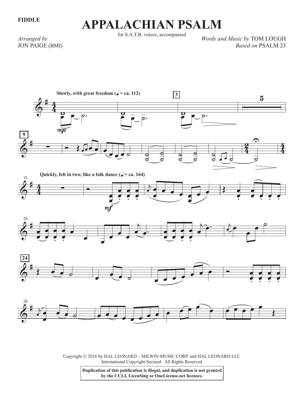Appalachian Psalm - Fiddle Sheet Music