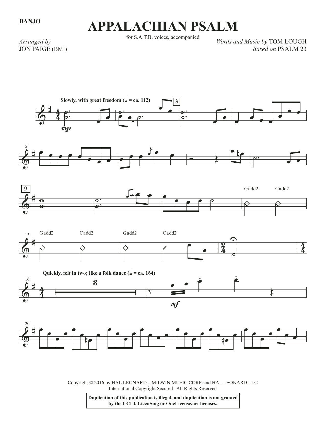 Appalachian Psalm - Banjo Sheet Music