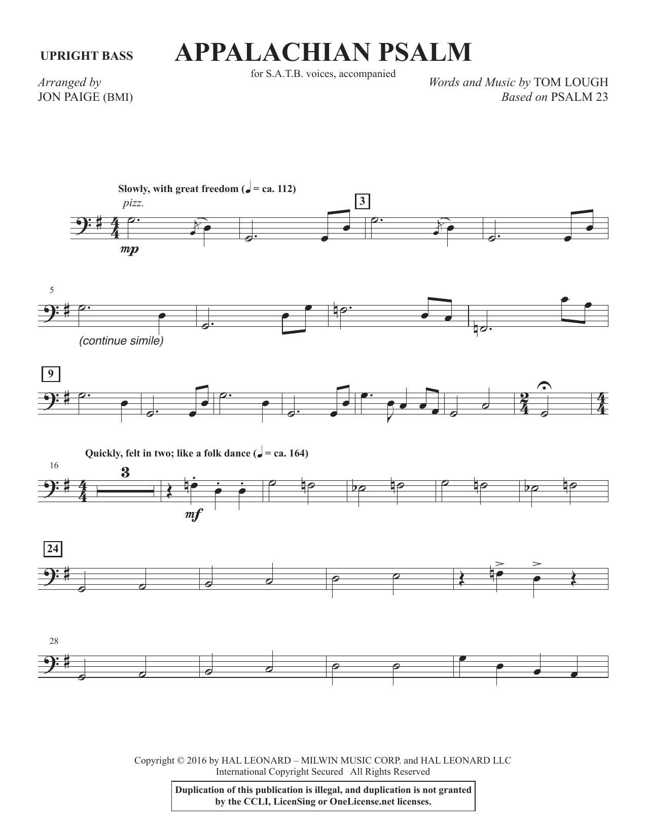 Appalachian Psalm - Upright Bass (Choir Instrumental Pak)