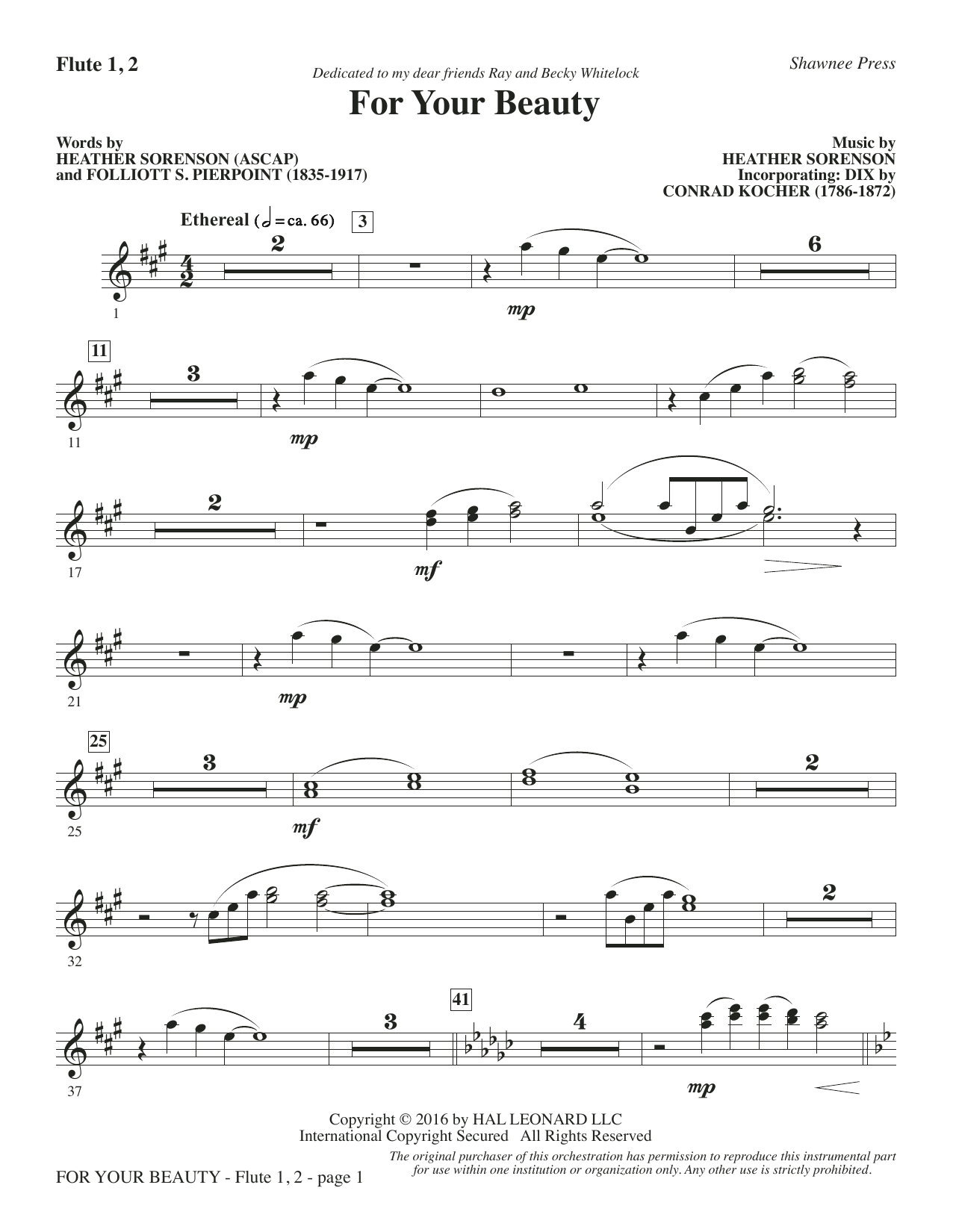 For Your Beauty - Flute 1 & 2 Sheet Music