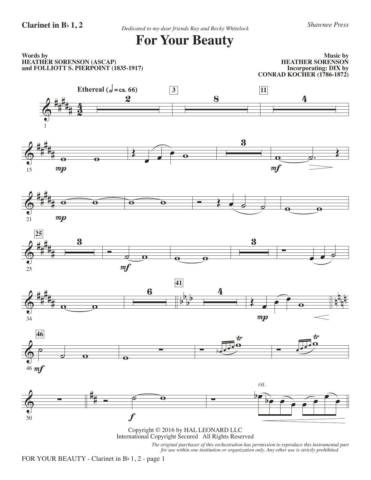 For Your Beauty - Bb Clarinet 1 & 2 Sheet Music